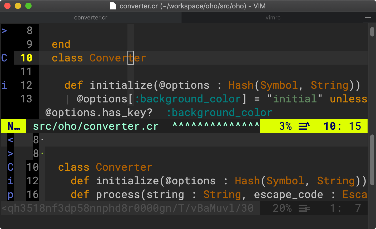 vim-show-marks preview window